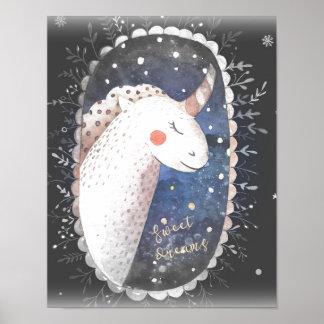 Süße Traum-Einhorn Poster
