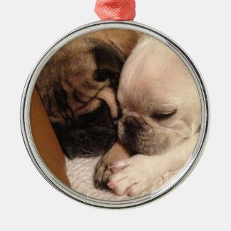 Süße Träume auf Weihnachtsabend Rundes Silberfarbenes Ornament