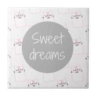 Süße Träume mit Katzen Keramikfliese