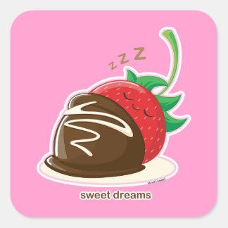 Süße Träume Quadrat-Aufkleber