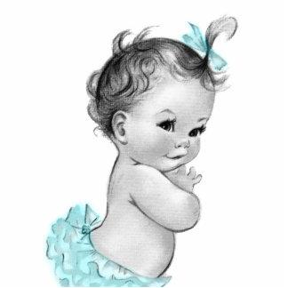 Süße Vintage aquamarine blaues Baby-Mädchen-Dusche Freistehende Fotoskulptur