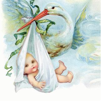 Süße Vintage blaue Storch-Baby-Jungen-Dusche Freistehende Fotoskulptur