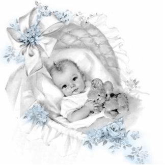 Süße Vintage blaues Baby-Jungen-Dusche Freistehende Fotoskulptur