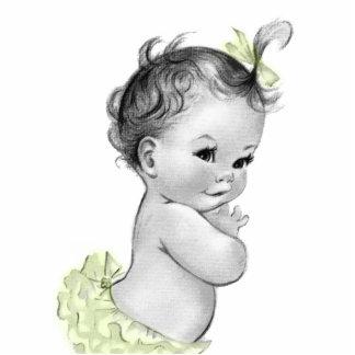 Süße Vintage gelbe Baby-Mädchen-Dusche Freistehende Fotoskulptur