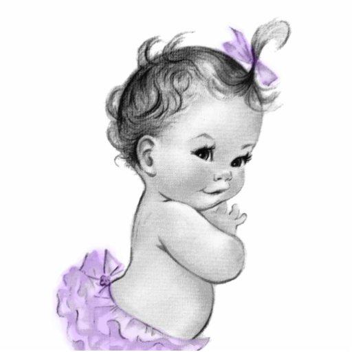 Süße Vintage Lavener lila Baby-Mädchen-Dusche Photo Skulpturen