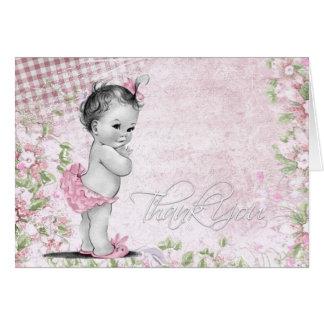 Süße Vintage rosa Baby-Dusche danken Ihnen Karten
