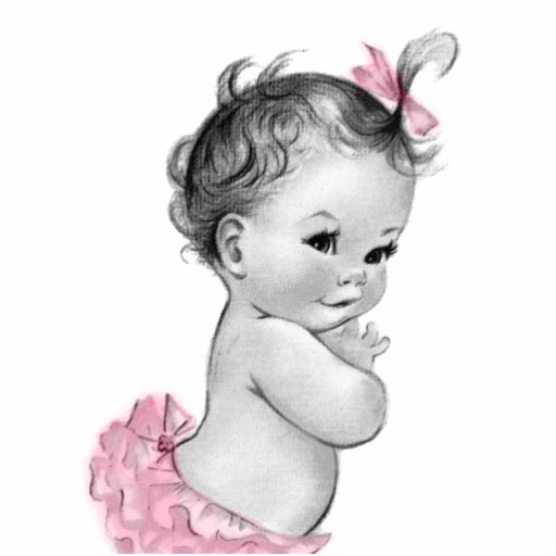 Süße Vintage rosa Baby-Mädchen-Dusche Foto Ausschnitte