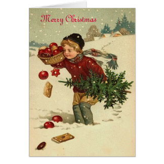 Süße Vintage Weihnachtsgrußkarte Karte