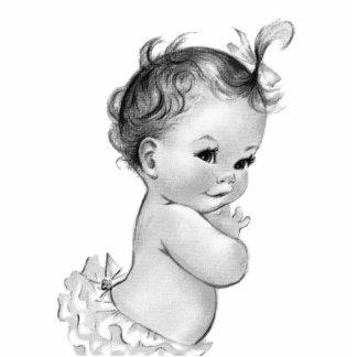 Süße Vintage weiße Baby-Mädchen-Dusche Freistehende Fotoskulptur