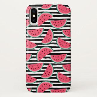Süße Wassermelone auf den Streifen schwarz u. iPhone X Hülle