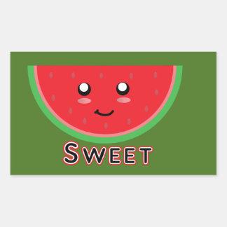 Süße Wassermelone Rechteckiger Aufkleber