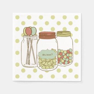 Süße Weckglas- und Süßigkeitscocktailserviette Papierserviette