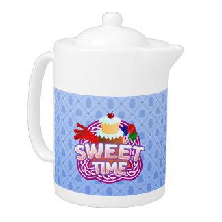 Süße Zeitblau Teekanne