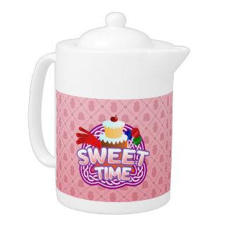 Süße Zeitrosa Teekanne