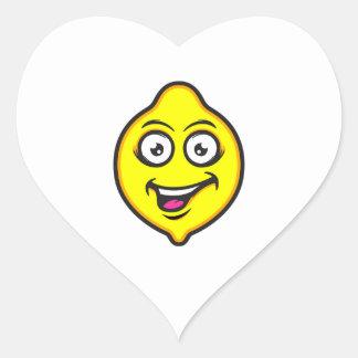 Süße Zitrone Herz-Aufkleber