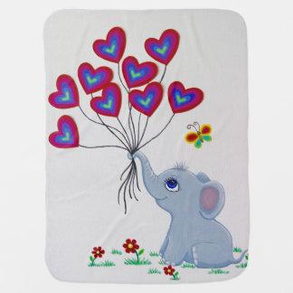 Süßer Baby-Elefant mit Ballonen Kinderwagendecke