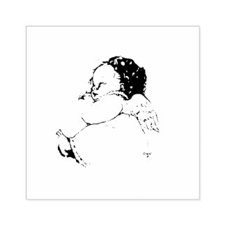 Süßer Baby-Engel, der in einer Wolke schläft Gummistempel