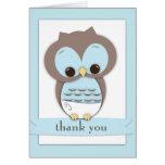 Süßer Baby-Eulen-Junge danken Ihnen, | Blau zu kar Grußkarte