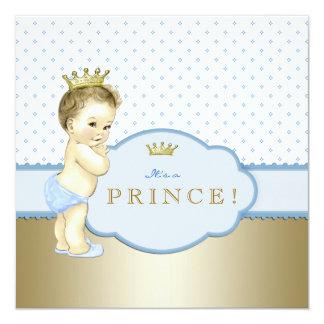 Süßer blauer Prinz Babyparty Quadratische 13,3 Cm Einladungskarte