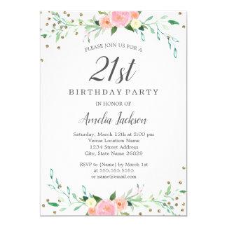 Süßer Blumenscheinconfetti-21. Geburtstags-Party Karte