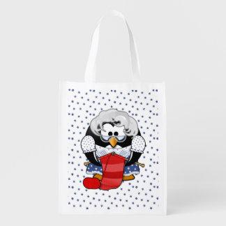 Süßer Cartoon-GroßmutterPenguin mit Blumen-Muster Einkaufstaschen