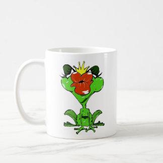 süßer Frosch mit Krone und Kussmund Kaffeetasse