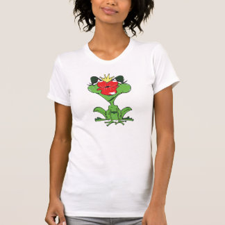süßer Frosch mit Krone und Kussmund T-Shirt