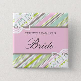 Süßer Garten Stripes Hochzeits-Namensschild/Knopf Quadratischer Button 5,1 Cm