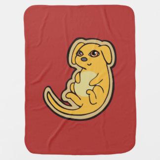 Süßer gelber und roter Welpen-Hund, der Entwurf Babydecke