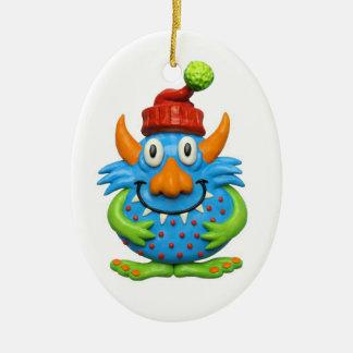 Süßer gepunkteter Monster ChristmasMonster Ovales Keramik Ornament