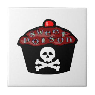 Süßer Gift-Kuchen-Schädel u. gekreuzte Knochen Fliese