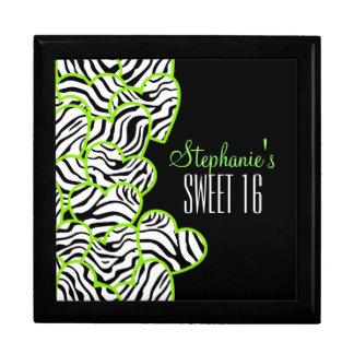 Süßer grüner Zebraherzen Bonbon 16 Geschenkbox