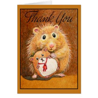 Süßer Hamster danken Ihnen zu kardieren Mitteilungskarte