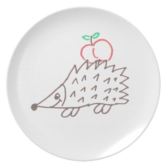 Süßer Igel mit Apfel Teller