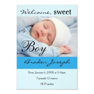 Süßer Jungen-neugeborene Baby-Geburts-Mitteilung 12,7 X 17,8 Cm Einladungskarte