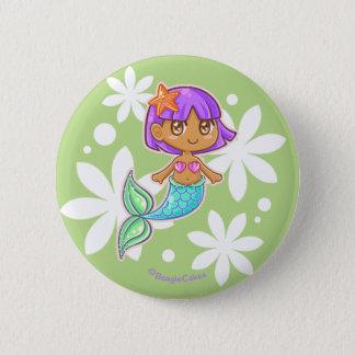 Süßer Meerjungfrau Pinback Knopf (lila) Runder Button 5,1 Cm