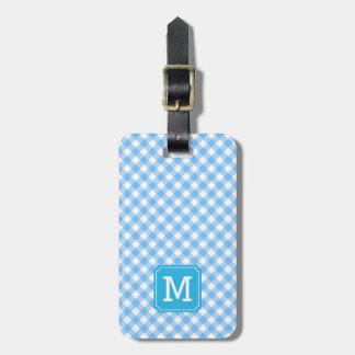 Süßer Monogramm-Baby-Blau-Gingham Kofferanhänger