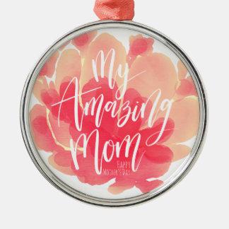 Süßer rosa Blumenwatercolor meine fantastische Rundes Silberfarbenes Ornament