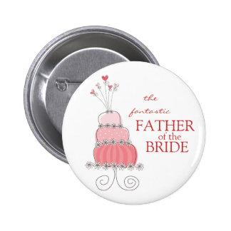 Süßer rosa Hochzeitstorte-Namensschild/Geschenk-Kn Buttons