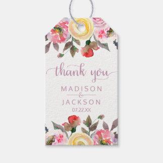 Süßer Rosewatercolor-Blumenhochzeit danken Ihnen Geschenkanhänger