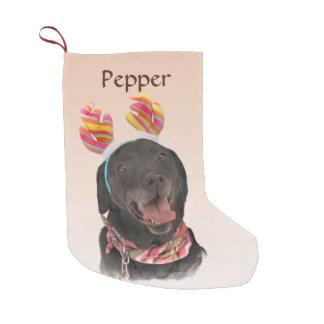 Süßer schwarzer Labrador retriever-Hund Kleiner Weihnachtsstrumpf