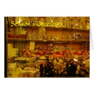Süßer Stall am deutschen Weihnachtsmarkt, Grußkarte