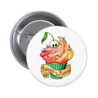 Süßer u. tödlicher Schädel-kleiner Kuchen Runder Button 5,7 Cm