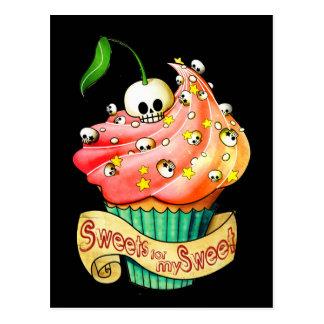 Süßer u. tödlicher Schädel-kleiner Kuchen Postkarte