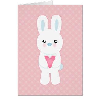 Süßer weißer Häschen-Valentinsgruß-Gruß Karte