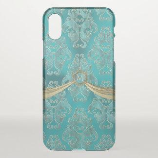 Süßes Aqua-blaues Vintages Damast-Monogramm iPhone X Hülle