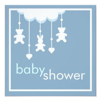 Süßes Baby-blaue bewegliche Babyparty-Einladung Quadratische 13,3 Cm Einladungskarte