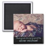 Süßes Baby-Foto-blaues Andenken danken Ihnen Quadratischer Magnet