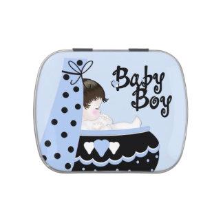 Süßes Baby-schwarze und blaue Babyparty-Süßigkeit Vorratsdose