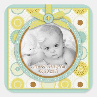 Süßes Baby Toes Foto-Aufkleber B Quadratischer Aufkleber